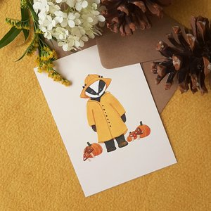 Rainy autumn day with Badger - Postcard with envelope