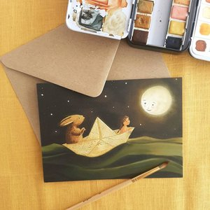 Paper boat dream - Postcard with envelope