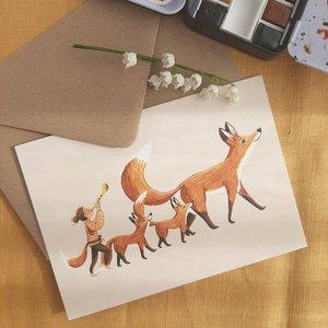 Happy fox parade - Postcard with envelope