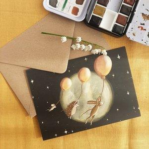 Balloon flight - Postcard with envelope