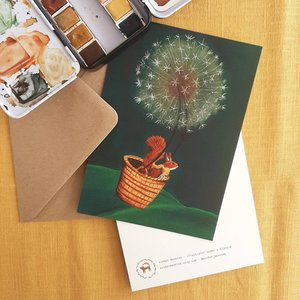 Dandelion flight - single postcard with envelope