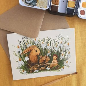 Visiting the rabbit family - Postcard with envelope