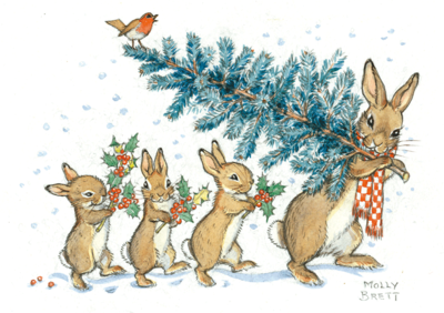 Postcard Molly Brett | A Rabbit Carrying A Christmas Tree