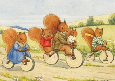 Postcard Margareth W. Tarrant   The Bicycle Ride