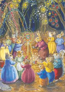Postcard Audrey Tarrant | The Woodland Animals Having A Firework