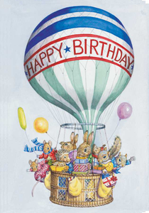 Postcard Audrey Tarrant | Animals With Presents In Balloon Baskets