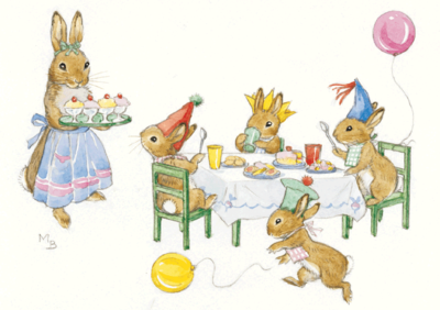 Postcard Molly Brett | Rabbit Birthday Party