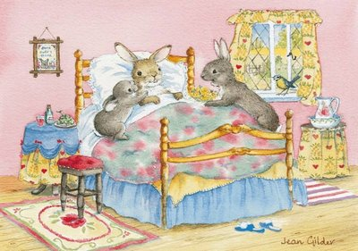 Postcard Jean Gilder | Rabbit in Bed