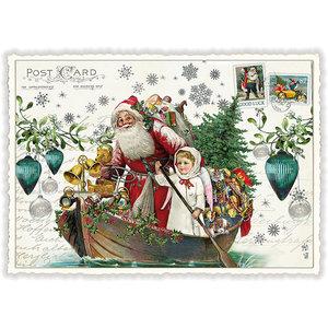 Postcard Edition Tausendschoen Christmas - Santa Boat