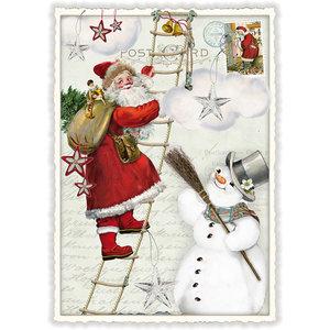Postcard Edition Tausendschoen Christmas - Santa Snowman