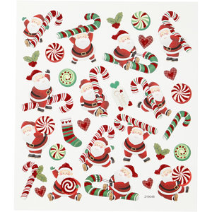 Seal Sticker with Glitter Foil | Santa Claus and Candy Stick