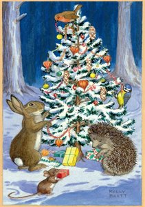 Postcard Molly Brett   Animal & Birds Decorating Christmas Tree