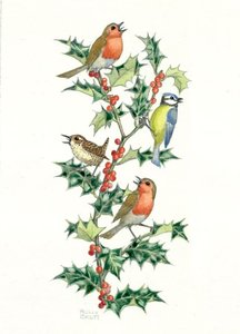 Postcard Molly Brett | Birds And Holly