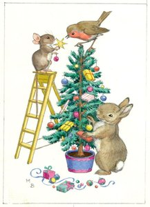 Postcard Molly Brett | 'Mouse And Rabbit Decorating Christmas Tree'