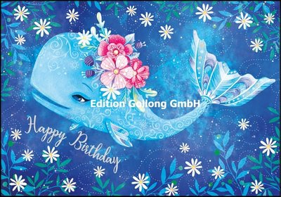 Wildblume by Tieneke Double Card | Happy Birthday (Whale)