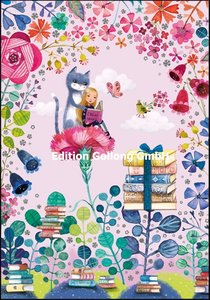 Mila Marquis Double Card   Cat and girl read a book