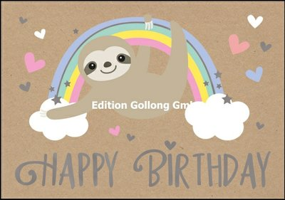 Shutterstock Double Card | Happy Birthday (Sloth)