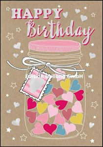 Shutterstock Double Card | Happy Birthday (Glass with hearts)