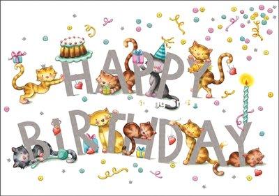 Nina Chen Double Card   Happy Birthday (Cats)