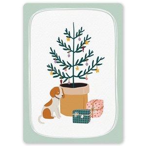 Postcard LittleLeftyLou   Christmas Tree Dog