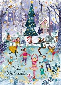 Mila Marquis Postcard | Fröhliche Weihnachten (Iceskating)
