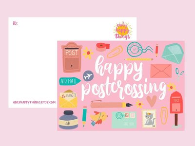 Postcard Only Happy Things | Happy Postcrossing Pink