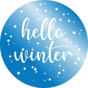 5 Stickers | Hello Winter (Blue Metallic Foil)