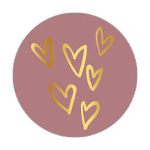 5 Stickers | Hearts (Gold Foil)