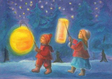 Postcard Dorothea Schmidt - lantern parade (two children)