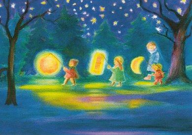 Postcard Dorothea Schmidt - lantern parade (three children)