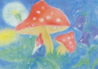 Postcard Dorothea Schmidt - Dwarf under a mushroom