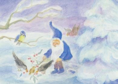 Postcard Dorothea Schmidt - Dwarf feeds the birds in the snow
