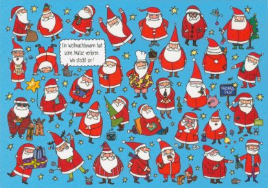 Search Postcard | Where's Santa's lost hat? / Happy Holidays