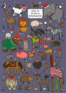 Search Postcard   Which animal already has a Christmas present?