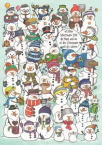 Search Postcard | What snowman is missing a nose?