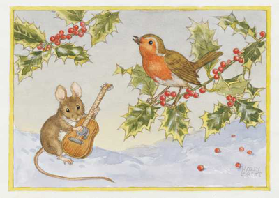 Postcard Molly Brett | Mouse With Guitar And Robin On Holly