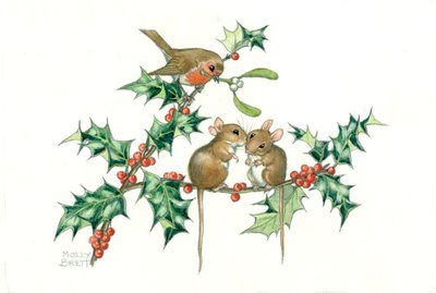 Postcard Molly Brett | Christmas Kissing Mice