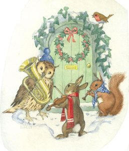 Postcard Molly Brett | A Group Of Woodland Creatures Playing Music