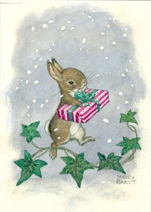 Postcard Molly Brett | Rabbit Holding Present In Falling Snow, With Ivy