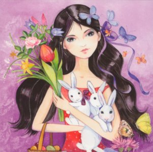 Postcard Kristiana Heinemann   Girl with rabbit and bouquet of flowers