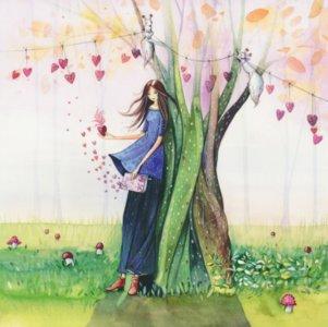 Postcard Kristiana Heinemann   Woman leans against tree