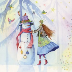 Postcard Kristiana Heinemann | Woman decorates snowman