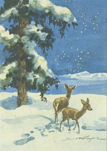Postcard | Two Deers in the Snow