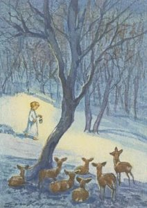 Postcard | Deers gazing at a Child with Lantern