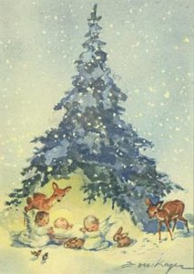 Postcard   Christ child, two angels and forest animals under a fir tree
