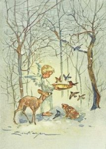Postcard   Angel baiting Birds in the Wood