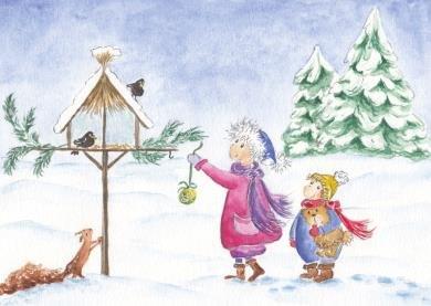 Postcard   Children feeding birds