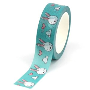 Washi Masking Tape   Bunnies with clouds and hearts
