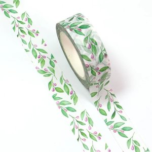 Washi Masking Tape | Green Leaves and Spring Flowers