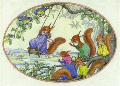 Postcard Molly Brett | Squirrels playing on a swing